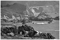 Bixbie Creek Bridge. Big Sur, California, USA ( black and white)