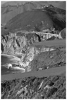 Distant view of Bixby Creek Bridge and coast. Big Sur, California, USA (black and white)