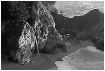 McWay Cove waterfall, late afternoon. Big Sur, California, USA ( black and white)