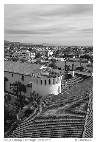 Rooftop of the courthouse with red tiles. Santa Barbara, California, USA (black and white)