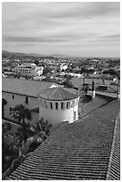 Rooftop of the courthouse with red tiles. Santa Barbara, California, USA ( black and white)