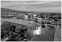 Red tile rooftops of the courthouse. Santa Barbara, California, USA ( black and white)