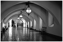 Corridors of the courthouse. Santa Barbara, California, USA ( black and white)