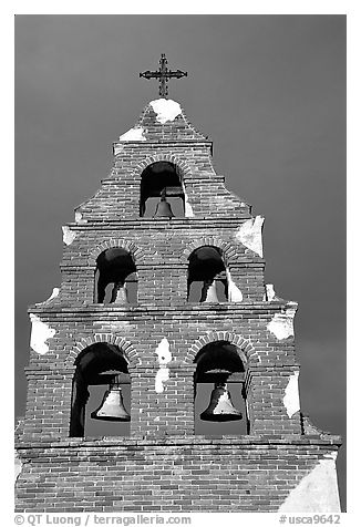 Bell tower, Mission San Miguel Arcangel. California, USA (black and white)