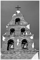 Bell tower, Mission San Miguel Arcangel. California, USA ( black and white)