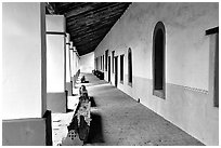 Cloister, Mission San Miguel Arcangel. California, USA ( black and white)