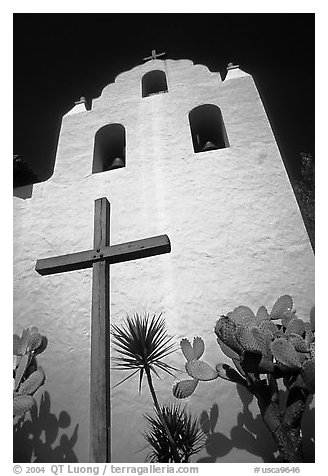 Cross and bell tower, Mission Santa Inez. California, USA (black and