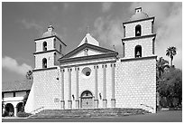 Chapel facade, Mission Santa Barbara, morning. Santa Barbara, California, USA (black and white)