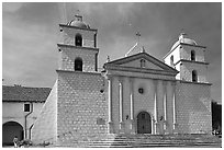 Mission Santa Barbara, mid-day. Santa Barbara, California, USA ( black and white)