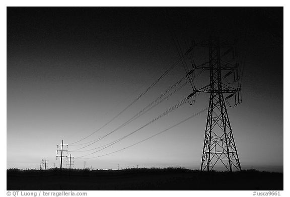 Power lines at sunset, San Joaquin Valley. California, USA (black and white)