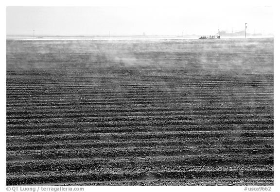 Mist and plowed field, San Joaquin Valley. California, USA