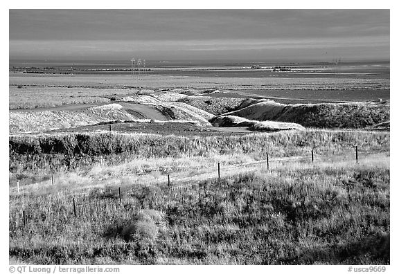 Central Valley farmlands. California, USA (black and white)