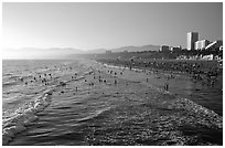 Beach seen from the pier, late afternoon. Santa Monica, Los Angeles, California, USA ( black and white)