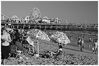 Beach and pier. Santa Monica, Los Angeles, California, USA (black and white)