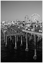 Pier and Ferris Wheel, late afternoon. Santa Monica, Los Angeles, California, USA ( black and white)