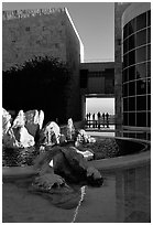 Courtyard, Getty Museum. Brentwood, Los Angeles, California, USA ( black and white)
