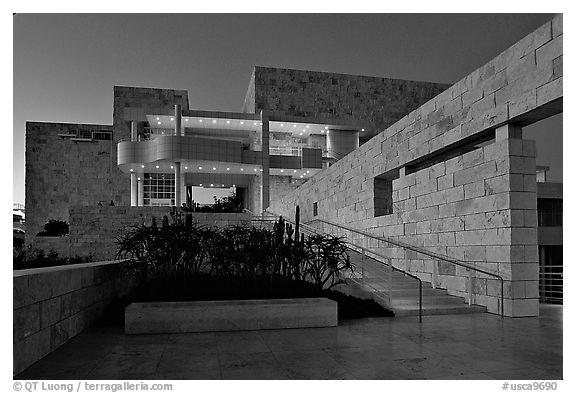 Getty Museum at dusk. Brentwood, Los Angeles, California, USA<p>The name <i>Getty Museum</i> is a trademark of the J. Paul Getty Trust. terragalleria.com is not affiliated with the J. Paul Getty Trust.</p>