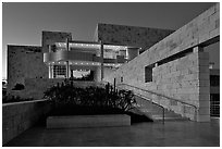 Getty Museum at dusk. Brentwood, Los Angeles, California, USA<p>The name <i>Getty Museum</i> is a trademark of the J. Paul Getty Trust. terragalleria.com is not affiliated with the J. Paul Getty Trust.</p> (black and white)