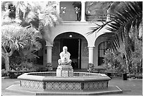 Courtyard with fountain, Balboa Park. San Diego, California, USA (black and white)