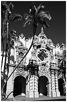 Casa Del Prado, afternoon, Balboa Park. San Diego, California, USA (black and white)