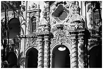Casa Del Prado gate, afternoon, Balboa Park. San Diego, California, USA (black and white)