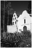 Agaves and front of Mission San Diego de Alcala. San Diego, California, USA ( black and white)