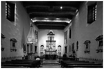 Chapel,  Mission San Diego de Alcala. San Diego, California, USA (black and white)