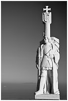 Statue of Cabrillo, Cabrillo National Monument. San Diego, California, USA ( black and white)