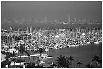 Harbor and skyline. San Diego, California, USA (black and white)