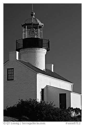 Old Point Loma Lighthouse, late afternoon. San Diego, California, USA (black and white)