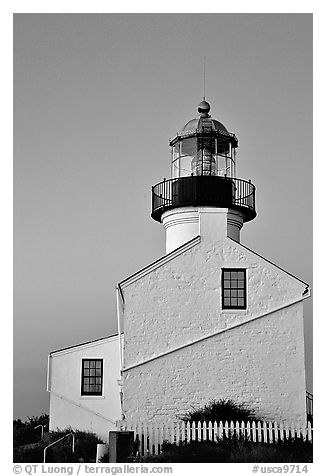 Old Point Loma Lighthouse, sunset. San Diego, California, USA (black and white)