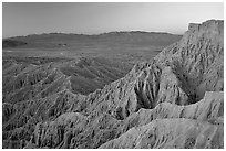 Eroded badlands at sunrise, Font Point. Anza Borrego Desert State Park, California, USA ( black and white)