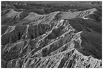 Erosion formations seen from Font Point. Anza Borrego Desert State Park, California, USA ( black and white)