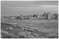 Tufa spires, Trona Pinnacles, sunset. California, USA (black and white)