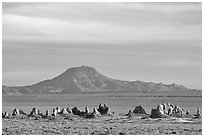Trona Pinnacles and Mountains, late afternoon. California, USA (black and white)