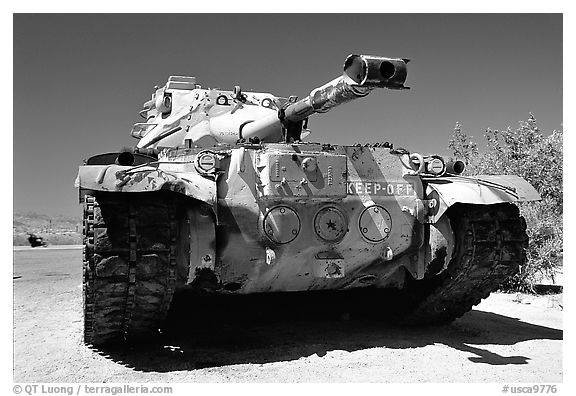 Tank at the General George S. Patton Memorial Museum, Chiriaco Summit. California, USA (black and white)