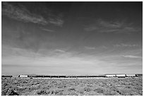 Long train in the Mojave desert. California, USA ( black and white)