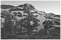 Round Top Peak and Winnemucca Lake, sunset. Mokelumne Wilderness, Eldorado National Forest, California, USA ( black and white)