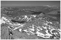 View from  Round Top Mountain. Mokelumne Wilderness, Eldorado National Forest, California, USA ( black and white)