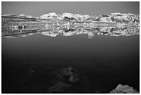 Tufas and Sierra Nevada, winter sunrise. Mono Lake, California, USA (black and white)