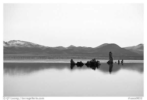 Isolated Tufa towers. Mono Lake, California, USA (black and white)