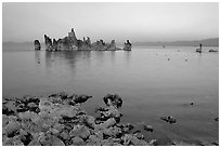 Tufa towers at dusk. Mono Lake, California, USA ( black and white)
