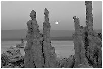 Tufa towers and moonrise, dusk. Mono Lake, California, USA ( black and white)