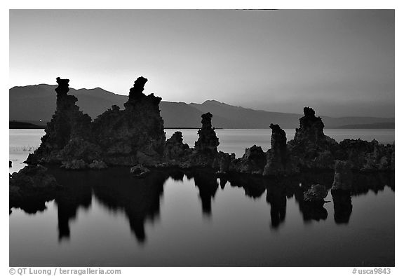 Tufa towers, dusk. Mono Lake, California, USA (black and white)