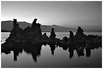 Tufa towers, dusk. Mono Lake, California, USA ( black and white)