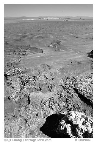 Colorful shores, mid-day. Mono Lake, California, USA (black and white)