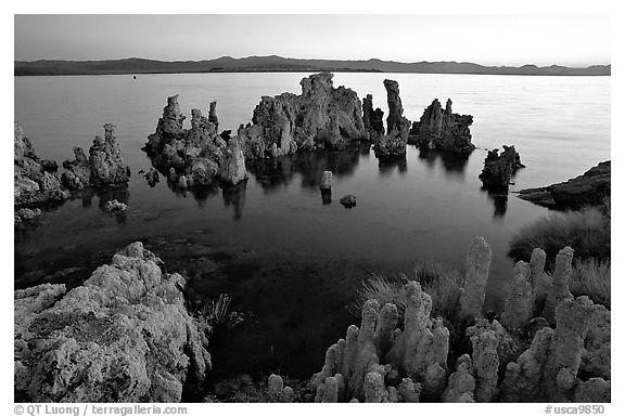 Tufa formations at dusk, South Tufa area. Mono Lake, California, USA (black and white)