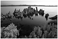 Tufa formations at dusk, South Tufa area. Mono Lake, California, USA ( black and white)