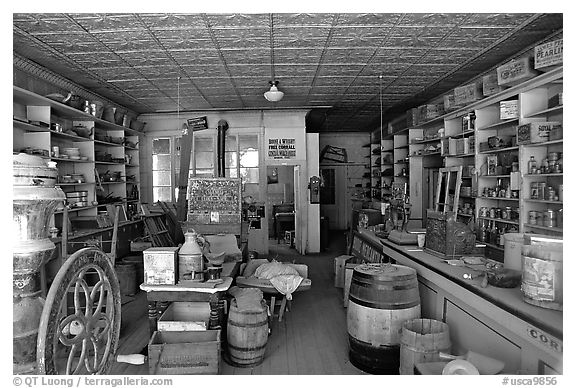 Black and white picture photo interior of general store ghost town bodie state park california usa