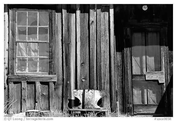 Window and wall, Ghost Town, Bodie State Park. California, USA (black and white)